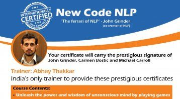 New Code NLP Internationally Certified Delhi